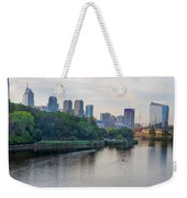 Rowing On The Schuylkill Riverwith Philadelphia Cityscape In Vie Weekender Tote Bag