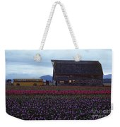 Rows Of Multi Colored Tulips In Field With Old Barn And Yellow B Weekender Tote Bag