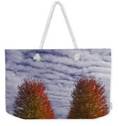 Rows Of Red Autumn Trees With Cirus Clouds Weekender Tote Bag