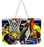 Roy Hibbert Vs Carmelo Anthony Weekender Tote Bag by Florian Rodarte
