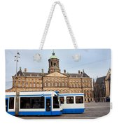 Royal Palace And Trams In Amsterdam Weekender Tote Bag
