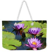 Royal Purple Water Lilies Weekender Tote Bag