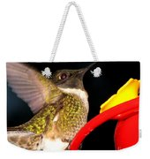 Ruby-throated Hummingbird Landing On Feeder Weekender Tote Bag