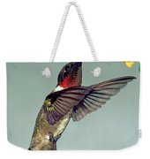 Ruby-throated Hummingbird Male At Flower Weekender Tote Bag