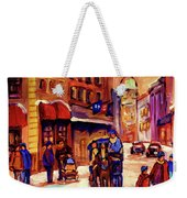 Rue St. Paul Old Montreal Streetscene In Winter Weekender Tote Bag