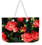 Ruffly Red Tulips Square Weekender Tote Bag