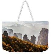 Rugged Cliffs And A Monastery  Meteora Weekender Tote Bag