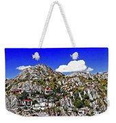 Rugged Cliffside Village Digital Painting Weekender Tote Bag