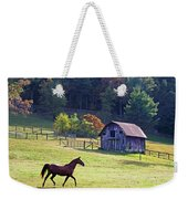 Running Horse And Old Barn Weekender Tote Bag
