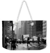 Running In The Rain - New York City Street Scene Weekender Tote Bag