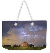 Rural Country Cabin Lightning Storm Weekender Tote Bag