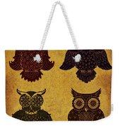 Rustic Aged 4 Owls Weekender Tote Bag