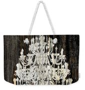 Rustic Shabby Chic White Chandelier On Wood Weekender Tote Bag