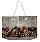 Rustic Wood With Pine Cones Weekender Tote Bag by Elena Elisseeva