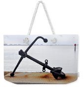 Rusty Black Boat Anchor By Sarasota Harbor Usa Weekender Tote Bag