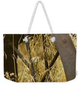 Rusty Old Wheel And Yellow Grasses Weekender Tote Bag