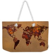 Rusty Vintage World Map On Old Metal Sheet Wall Weekender Tote Bag by Design Turnpike