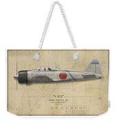Saburo Sakai A6m Zero - Map Background Weekender Tote Bag