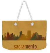 Sacramento California City Skyline Watercolor On Parchment Weekender Tote Bag
