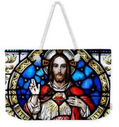 Sacred Heart Of Jesus In Stained Glass Weekender Tote Bag