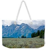 Sagebrush Flatland And Teton Peaks Near Jenny Lake In Grand Teton National Park-wyoming- Weekender Tote Bag