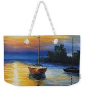 Sailboat At Sunset Weekender Tote Bag