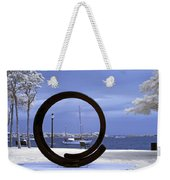 Sailboat Through Omphalos Sculpture Near Infrared Weekender Tote Bag