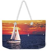 Sailboats At Sunset Weekender Tote Bag by Elena Elisseeva