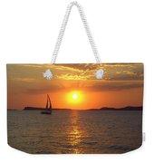 Sailing Boat In Ibiza Sunset Weekender Tote Bag