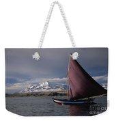 Sailing Boat On Lake Titicaca Weekender Tote Bag