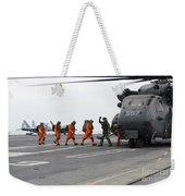 Sailors Board An Mh-53e Sea Dragon Weekender Tote Bag