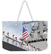 Sailors Man The Rails Aboard Uss Weekender Tote Bag
