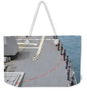 Sailors Man The Rails On Uss Mccampbell Weekender Tote Bag