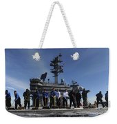Sailors Participate In A Fight Deck Weekender Tote Bag