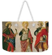 Saint Cecilia Between Saint Valerian And Saint Tiburtius With A Donor Weekender Tote Bag