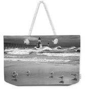 Saint Joseph Michigan Lighthouses Stormy Day At Silver Beach I Bw Weekender Tote Bag
