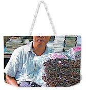 Salesman In The Marketplace In Tachilek-burma Weekender Tote Bag
