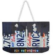 San Francisco California Skyline License Plate Art Weekender Tote Bag