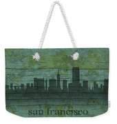 San Francisco California Skyline Silhouette Distressed On Worn Peeling Wood Weekender Tote Bag
