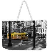 San Francisco Vintage Streetcar On Market Street - 5d19798 - Black And White And Yellow Weekender Tote Bag