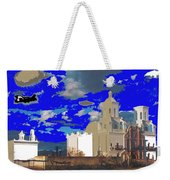 San Xavier Mission Brooding Clouds Post Card Ray Manley  Photo No Date-2013  Weekender Tote Bag