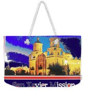 San Xavier Mission Postcard #1  With Lettering No Date-2013  Weekender Tote Bag