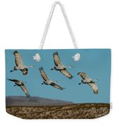 Sandhill Cranes Over Chupadera Mountains Weekender Tote Bag