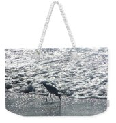 Sandpiper Finds Food In Surf Weekender Tote Bag