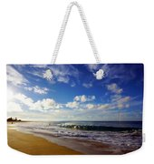 Sandy Beach Morning Rainbow Weekender Tote Bag