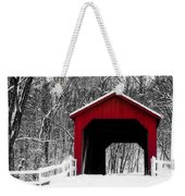 Sandy Creek Cover Bridge With A Touch Of Red Weekender Tote Bag