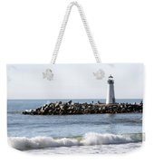 Santa Cruz Lighthouse Wave Wide Weekender Tote Bag by Barbara Snyder