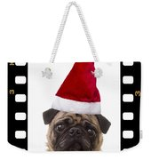 Santa Pug - Canine Christmas Weekender Tote Bag by Edward Fielding
