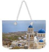 Santorini Church Overlooking The Sea Weekender Tote Bag