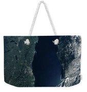Satellite View Of Lake Michigan Weekender Tote Bag